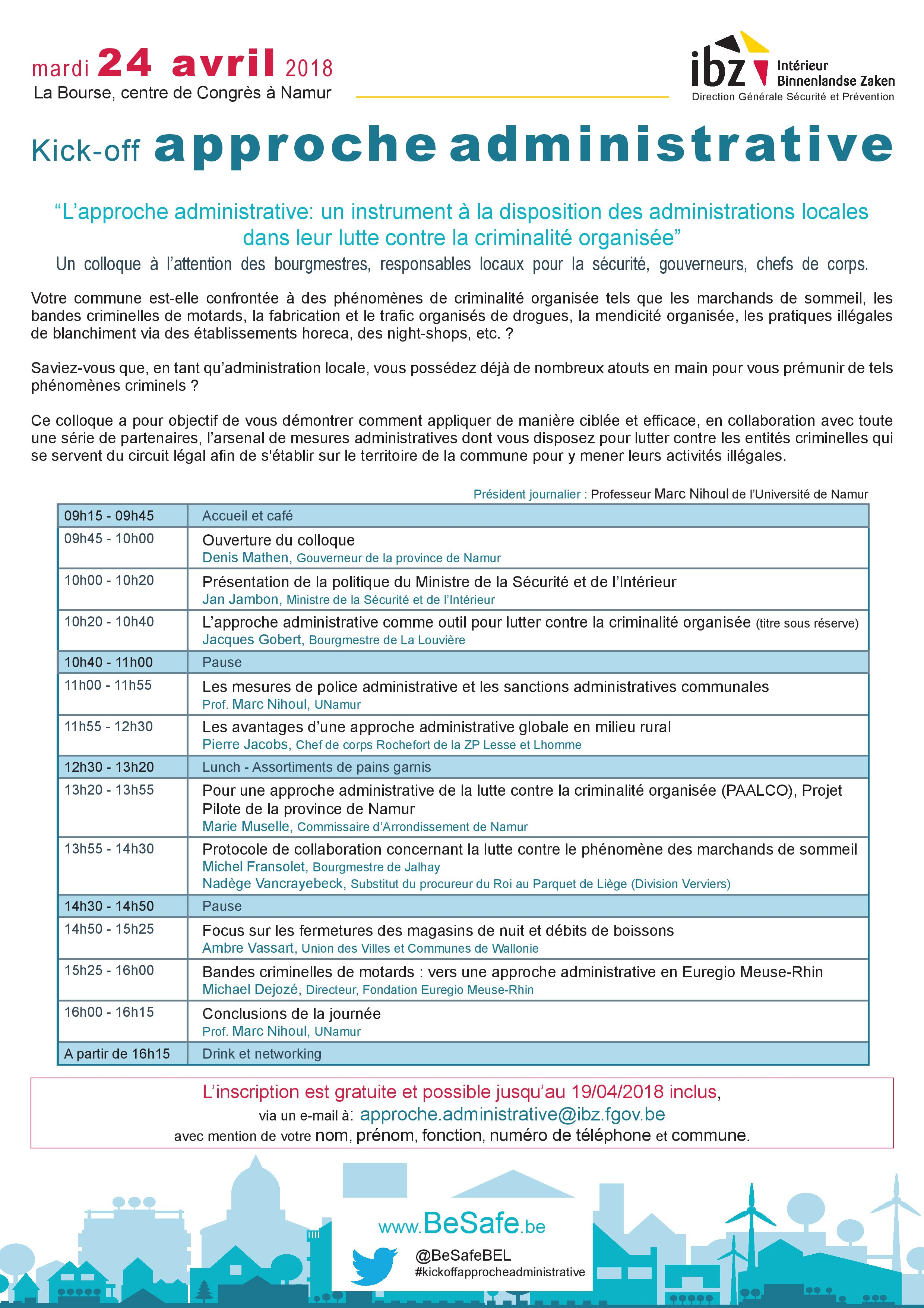 "Invitation et programme du kick-off ""approche administrative"""